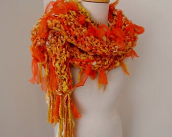 Long scarf, Hand Spun Merino Alpaca Wool Scarf, Hand Knit Scarf, golden yellow orange, silver sparkle,