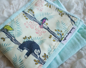 Baby burp cloth - aqua sloths hand dyed burp cloth