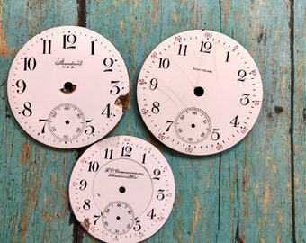 Vintage Porcelain POCKET Watch Faces (3) for Steampunk and Altered Art- Black and White Numbers- Watch Dials- D22