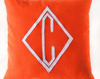 initial pillow. Diamond letter pillow  decorative  monogram  cushion cover. Single dimond monogram cushion  Custom made