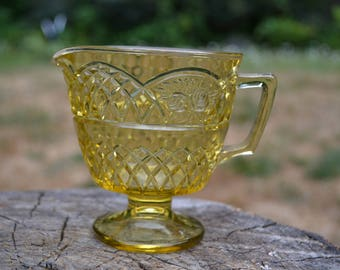"Vintage 1934 Amber Depression Glass ""Mayfair"" Footed Creamer, Federal Glass Company"