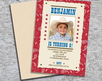 Cowboy Party Invitation Photo - DIY Personalized Printable (Digital File)