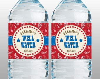 Personalized Cowboy Party Water Bottle Label – DIY Printable (Digital File)