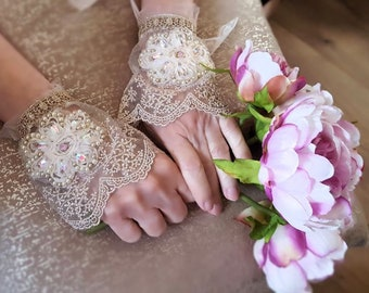 Romantic lace cuffs with bead embroidery, wedding lace jewelry, antique gold silver metallic lace floral cuff, pair bridal textile bracelets