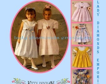McCalls 7016 Girls Party Dress & Pantaloons Childs size 4 or 6 or 7 Vintage Kitty Benton Gourmet Sewing Pattern Uncut FF