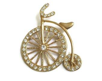 Pave Rhinestone Penny Farthing Bicycle or Bike Brooch Vintage Large High Wheel
