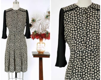 Vintage 1940s Dress - Fantastic Rayon Crepe Color Block Cream and Black 40s Day Dress with Leaf Lattice Print and Gored Skirt