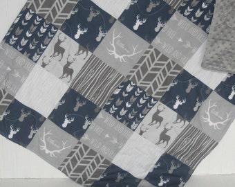 deer baby quilt- baby boy quilt -minky baby quilt- navy baby quilt- woodland baby bedding-baby boy bedding- arrow baby quilt-gray baby quilt