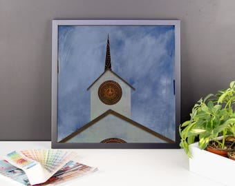 Steampunk Clock Tower in Stormy Skies Framed Poster, Steampunk Art, Dorm Room Decor, Spire, Victorian Clock Tower, Recycled Art, Repurposed