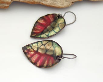 Red and Black Leaf Earrings, Metallic Copper Enamel Dangles, Vitreous Enamel Abstract Leaves, OOAK Gift for Her, Ready to Ship