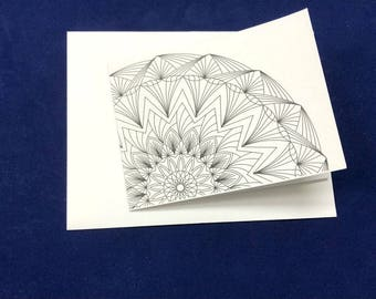Tri-Fold Mandala Greeting Card-3.25 x 4.5 with Envelope, Note Cards, Blank Cards, Greeting card for any occasion, Coloring Greeting Cards