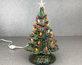 Ceramic CHRISTMAS TREE Ready to Ship Vintage style 11 inches tall a holiday lighted decoration   Green Glaze # 11 GG,smt,Cs