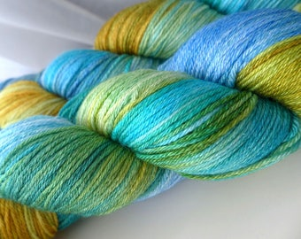 JulieSpins Silky 435 - Sun, Sea and Sand - Aqua Blue Green Gold Yellow Light Fingering Weight Hand Dyed Luxury Merino Silk Yarn