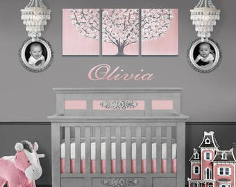 Baby Girl Nursery Wall Art Painting on Large Canvas Triptych - Pink and Gray Tree - 50x20
