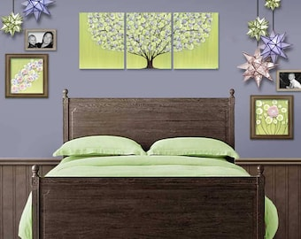 Girl Room Wall Art Large Painting on Canvas Triptych in Green and Purple - Tree with Sculpted Flowers - 50x20