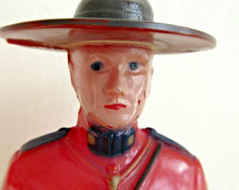 Vintage Mountie, Plastic Mountie Figurine, 1960s Plastic Figurine, Canadian Mountie, Reliable Brand Mountie, Made in Canada, Mounted Police