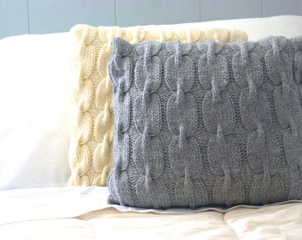 Gray Knitted Pillow - Sweater Pillow - Cable Knit Pillow Cover- Throw Pillow - Rustic Pillow - Rustic Home Decor- 18 x 18 Pillow Cover