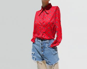Vintage 70s Blouse Red Floral Blouse Boho Hippie Blouse Dog Ear Collar 70s Black Rose Print 1970s Red Shirt Poly Knit Blouse m