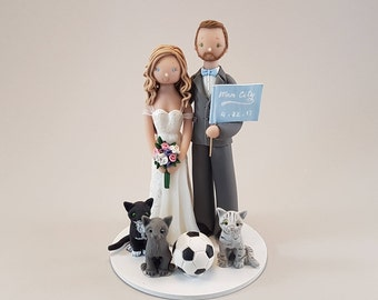 Bride & Groom with Cats Personalized Wedding Cake Topper