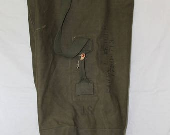 Vintage Army Duffel Bag Type 1, Green Canvas, 1940's to 1950'as