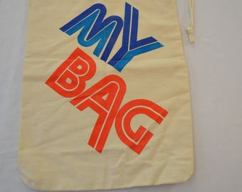 Vintage MY BAG small canvas book bag duffel bag