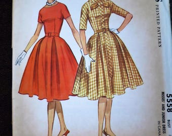 1950s Full Skirted Dress - Size 16 - Sewing Pattern - McCalls #5558
