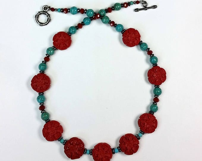 Cinnabar and Turquoise Necklace - Red Cinnabar Jewelry - Cinnabar Necklace - Red and Turquoise Jewelry - Southwest Jewelry - Asian Jewelry