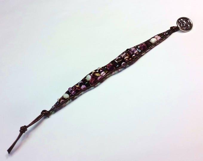 Purple Single Wrap Bracelet - Bracelet with Shell and Spiny Oyster - Beaded Leather Single Wrap Bracelet - Bracelet with Om Button Clasp
