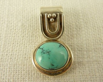 Vintage Sterling and Turquoise Bale Detail Pendant