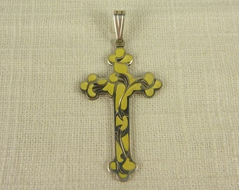 Vintage Creed Sterling and Enamel Cross Pendant