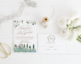 Sample - Tuscan Impressions- Watercolor Wedding Invitations - Italy Wedding