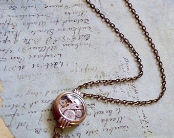 Steampunk necklace  - Glimmer - Steampunk watch parts - Tanzanite - one of a kind -  Repurposed Art