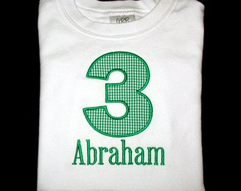 Custom Personalized Applique Birthday NUMBER and NAME Shirt or Bodysuit - Kelly Green Mini Gingham or Choose Color