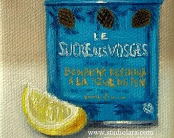 CUSTOM Itty Bitty Bits of Pretty...Vintage French Tea Tin with Lemon -Still Life 3x4 Original Painting in OIL by LARA teapot