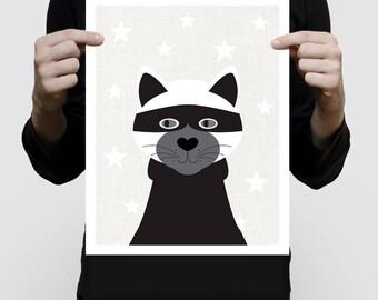 cat print burgler - black and white kids room decor, mono wall art, children's print, nursery decor, modern kids art, cat lover gift artwork