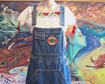 Overalls, Overalls Dress, Denim Skort, Shortalls, Patched overalls, Save the Planet, Eco, size M