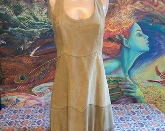 Leather Dress, Halter, Suede, Fringe, dress, Pocahontas, Tan, Mexican dress, size S/M