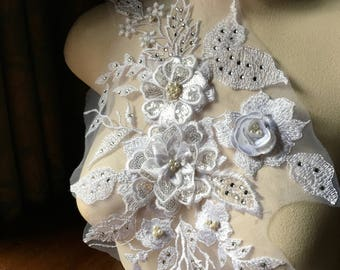 WHITE 3D Applique , Rhinestones & Pearls for Bridal, Lyrical Dance, Ballet, Couture Gowns F18-2