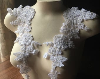WHITE Beaded Applique Pair for Lyrical Dance, Bridal, Straps, Sashes, Headpieces, Costumes PR 80WH