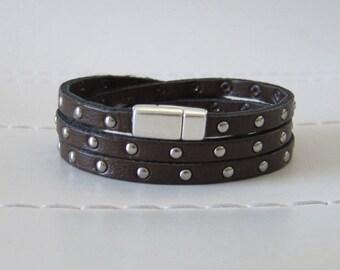 Dark Brown Studded Flat Leather (5MM) Triple Wrap Bracelet