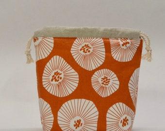 Moira Orange Small Drawstring Knitting Project Craft Bag - READY TO SHIP