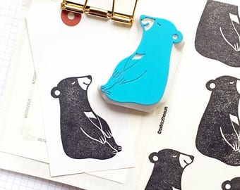 black bear rubber stamp | woodland animal stamp | diy birthday christmas card making | animal lover gift | hand carved by talktothesun