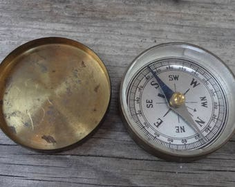 Vintage Compass Brass Military Pocket With Cover Made In Germany Light Wear On Outside And Inside Of Lid Functional  1 & 5/8 Inches