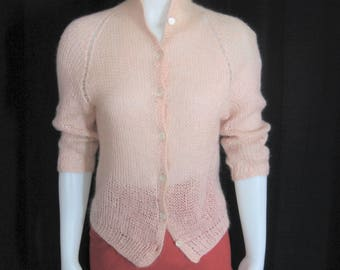 50s 60s Vintage Cardigan Sweater Pale Pink Angora, Sheer Loose Knit Open Weave, 3/4 Push Up Sleeve, MOP Buttons, Lightweight Jacket, Bust 34
