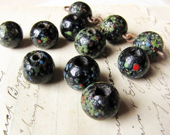 large black vintage glass beads -  super chunky speckled glass - large hole rustic handmade lampwork vintage beads - 14mm - 11 beads