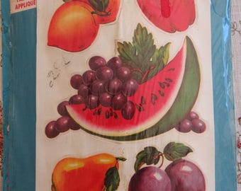 Vintage Vogart Fabric Iron On Appliques 100% Cotton Kitchen Fruit Designs