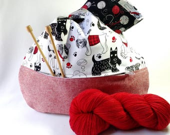 Dog Lover Knitting Crochet Project Bag zippered pocket - Japanese Knot WIP shawl cowl scarf sock bag - black red - free knitting pattern too