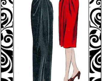 Vintage 1942-ELEGANT EVENING SKIRT-Day Skirt-Sewing Pattern-Peg-Top Silhouette-Soft Drape-Slit-Featured in Vogue Magazine-Size 14-Rare