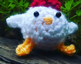 Fat Chicken - crochet chicken ornament amigurumi chicken toy stuffed hen mini chick crochet chick white chicken small crochet animals