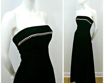 Vintage Velvet Gown, 90s Black Velvet and Rhinestone Strapless Gown, Strapless Velvet Dress. Holiday Party Evening Gown Size 4
